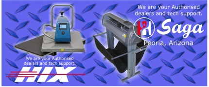 resellers agent for Hix heat presses and Saga vinyl cutters
