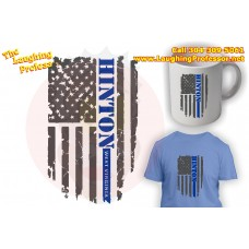 T-Shirt - Distressed Flag, Blue Line