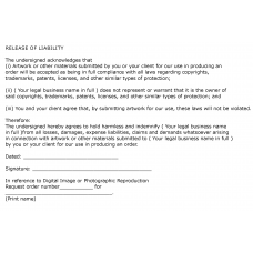 Letter of Release Liability Form