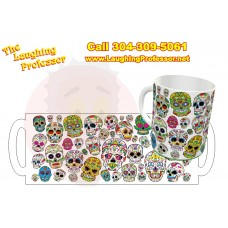 Mug - 11oz ceramic dye Printed Coffee mug. SugarSkull