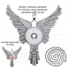 wing pendant button necklace